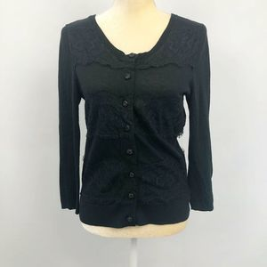 Anthro Knitted & Knotted Cardigan Lace Trim Black